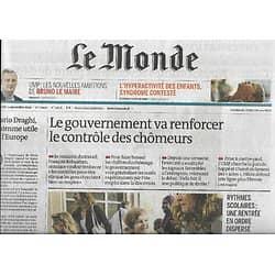 LE MONDE n°21656 03/09/2014  Contrôle des chômeurs/ Loyers: difficile régulation/ L'hyperactivité des enfants/ Rythmes scolaires