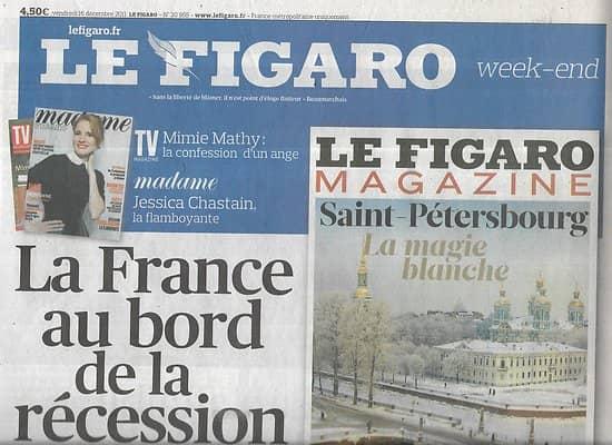 LE FIGARO n°20955 16/12/2011  La France au bord de la récession/ Chirac condamné/ Ténors: la relève est là/ Tests ADN/ Ecoles de commerce