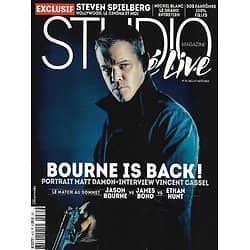 "STUDIO CINE LIVE n°81 juillet-août 2016  Bourne is back! Matt Damon/ Steven Spielberg/ Portfolio Périer/ ""Predator""/ Michel Blanc"