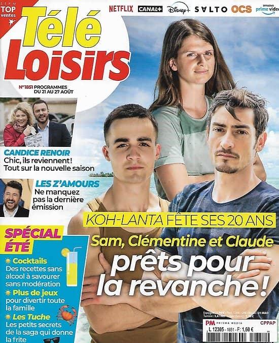 "TELE LOISIRS n°1851 21/08/2021  ""Koh-Lanta"" fête ses 20 ans/ Bon état d'usage"