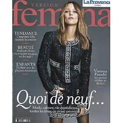 VERSION FEMINA n°1012 23/08/2021  Vanessa Paradis débute au théâtre/ Nouveautés de la rentrée/ Tourisme: Folegandros dans les Cyclades