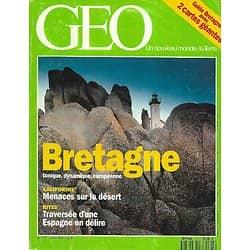 GEO n°161 juillet 1992  Bretagne: au coeur de la péninsule + guide/ Voiliers/ Désert de Californie/ Ozone/ Crocodiles