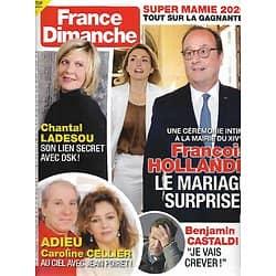 FRANCE DIMANCHE n°3877 18/12/2020  François Hollande/ Chantal Ladesou/ Caroline Cellier/ Benjamin Castaldi/ Miss France
