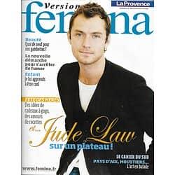 VERSION FEMINA n°374 30/05/2009  Jude Law/ Fête Des Mères/ Arrêter de fumer/ Jambes légères