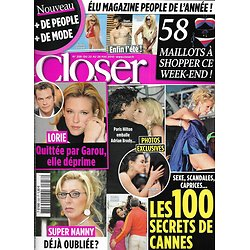 CLOSER n°258 22/05/2010  Lorie/ 100 Secrets de Cannes/ Super Nanny/ Maillots