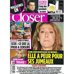 CLOSER n°280 23/10/2010  Céline Dion/ Sophie Davant/ Jean-Luc Delarue/ Secret story