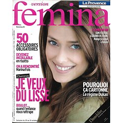VERSION FEMINA n°447 23/10/2010  Marina Foïs/ Cheveux lisses/ Risotto