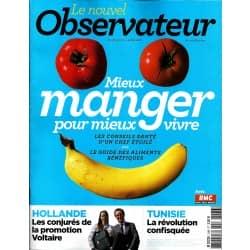 LE NOUVEL OBSERVATEUR n°2486 27/06/2012  Mieux manger pour vivre/ Tunisie, la révolution confisquée/ Hollande & la promotion Voltaire
