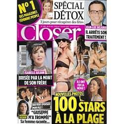 CLOSER n°290 31/12/2010  100 Stars à la plage/ Adjani/ Delarue/ Spécial détox