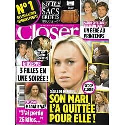 CLOSER n°292 15/01/2011 Cécile De Menibus/ Magali Vaé/ Cotillard & Canet/ Cameron Diaz