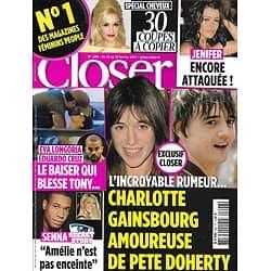CLOSER n°296 12/02/2011  Charlotte Gainsbourg & Pete Doherty/ Eva Longoria/ Jenifer/ Angelina Jolie/ Jude Law