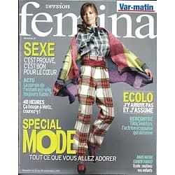 VERSION FEMINA n°493 12/09/2011 Spécial Mode/ Tilda Swinton/ 48h à Metz/ Sexe