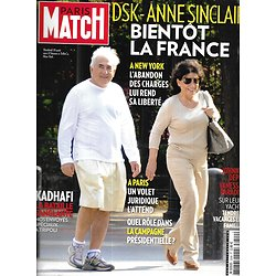 PARIS MATCH n°3249 31/08/2011  DSK & Anne Sinclair/ Kadhafi/ Johnny Depp & Vanessa Paradis/ Daria Werbowy/ Christian Brando