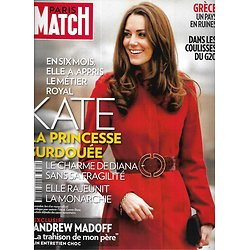 PARIS MATCH n°3260 10/11/2011  Kate Middleton/ G20/ Madoff/ Grèce en ruines/ Robert Pattinson/ Loulou de la Falaise