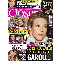 CLOSER n°339 10/12/2011  Lorie/ Robert Pattinson/ patrick Bruel/ Ayem/ Jean-Luc Delarue/ Garou
