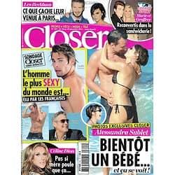 CLOSER n°341 26/12/2011 Alessandra Sublet/ Hommes sexy/ Camille Lacourt/ George Clooney/ Céline Dion/ Les Beckham