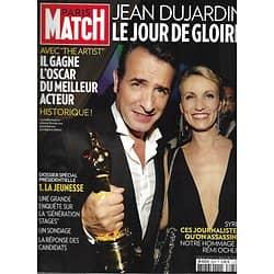 PARIS MATCH n°3276 01/03/2012  Jean Dujardin/ Dossier Présidentielle: Jeunesse Française/ Syrie: la presse ciblée/ Fukushima