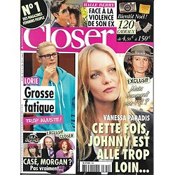 CLOSER n°390 01/12/2012  Vanessa Paradis & Johnny Depp/ Lorie/ Halle Berry/ Jennifer Aniston