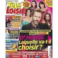 """TELE LOISIRS n°1405 02/02/2013  """"Dr House"""" Hugh Laurie/ Mylène Farmer/ """"The Voice""""/ Arnold Schwarzenegger/ Spirou/ Didier Deschamps"""