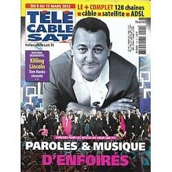 """Télé Cable Sat n°1192 09/03/2013  Les Enfoirés/ Coluche/ Tessa Worley/ """"Killing Lincoln"""""""
