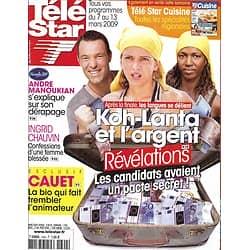 TELE STAR n°1692 07/03/2009   Koh-Lanta & l'argent/ Ingrid Chauvin/ Sébastien Cauet/ Manoukian