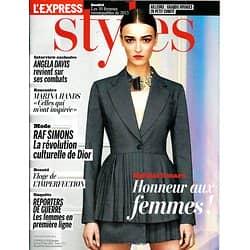 L'EXPRESS STYLES n°3218 06/03/2013  Spécial femmes/ Angela Davis/ Marina Hands/ Raf Simons
