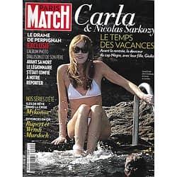 PARIS MATCH n°3351 07/08/2013  Carla Bruni/ Drame de Perpignan/ Plage de rêve: Mykonos/ Herzigova