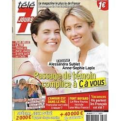 "TELE 7 JOURS n°2771 06/07/2013  Alessandra Sublet & Anne-Sophie Lapix/ Isabelle Huppert/ ""Fort Boyard"""