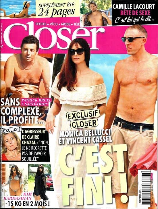 CLOSER n°428 24/08/2013  Monica Bellucci & Vincent Cassel/ Patrick Bruel/ Camille Lacourt/ Kim Kardashian/ Claire Chazal