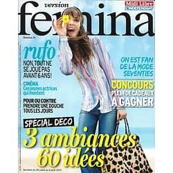 VERSION FEMINA n°591 29/07/2013  Spécial déco/  Actrices dans le vent/ Mode seventies/ Recettes pêches