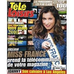 TELE LOISIRS n°1243 26/12/2009  Miss France : Malika Ménard/ Johnny Hallyday/ Robert De Niro