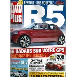 AUTO PLUS n°1224 20 FEVRIER 2012  R5/ RADARS/ 208 GTI/ NEW SUV