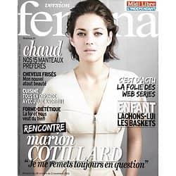 VERSION FEMINA n°604 28/10/2013  Marion Cotillard/ Web séries/ USA villes mythiques/ Recettes de Gironde avec J.Andrieu