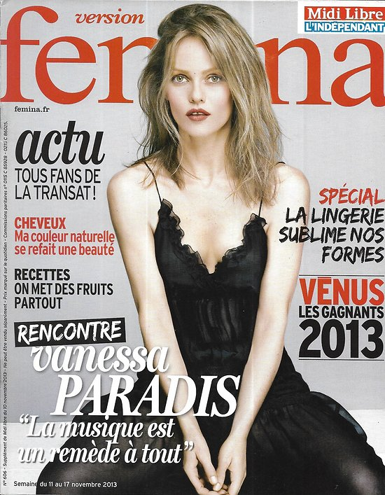 VERSION FEMINA n°606 11/11/2013  Vanessa Paradis/ Lingerie/ Prague/ Transat Vabre/ Recettes fruits