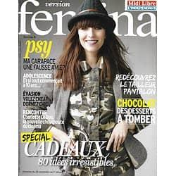 VERSION FEMINA n°608 25/11/2013  Spécial cadeaux/ Charlotte Le Bon/ Philippe Claudel/ Desserts au chocolat