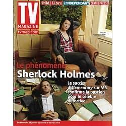 "TV MAGAZINE n°21608 26/01/2014  ""Elementary"" Jonny Lee Miller & Lucy Liu (Sherlock Holmes)/ Charles Aznavour"