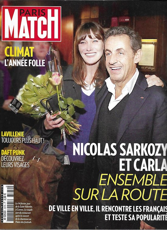 PARIS MATCH n°3379 20/02/2014  Sarkozy & Carla Bruni/ Climat, l'année folle/ Meryl Streep/ Renaud Lavilenie/ Daft Punk