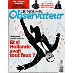 LE NOUVEL OBSERVATEUR n°2592 10/07/2014  Hollande & Economie/ Soldats qui ont combattu pour la France