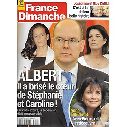 "FRANCE DIMANCHE n°3452 26/10/2012  Albert II/ Anne Sinclair/ Guy Carlier/ Sandrine Bonnaire/ Sylvie Vartan/ Richard Chamberlain/ ""Koh-Lanta"""