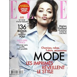 ELLE n°3567 09/05/2014  Marion Cotillard/ Spécial Bijoux/ Houellebecq/ Clooney/ Mode imprimés