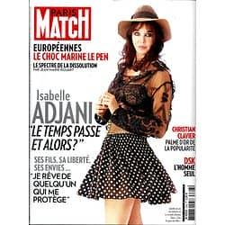 PARIS MATCH N°3393 28 MAI 2014  ISABELLE ADJANI/ DSK/ CLAVIER/ LE PEN-EUROPEENNES
