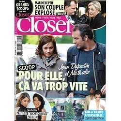 CLOSER n°468 30/05/2014  Jean Dujardin & Nathalie Péchalat/ Nabilla/ Kim Kardashian & Kanye West/ Angelina Jolie/ Marine Le Pen