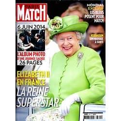 PARIS MATCH N°3395 12 JUIN 2014  ELIZABETH II/ D-DAY/ MIDDLETON/ LES BLEUS/ HUPPERT/ KERSAUSON