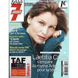 """TELE 7 JOURS n°2857 28/02/2015  Laëtitia Casta/ Julien Doré/ Victoria Abril """"Clem""""/ Martina Stoessels"""