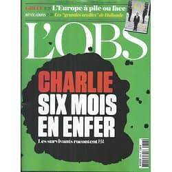 L'OBS N°2643 2 JUILLET 2015  CHARLIE HEBDO, LES SURVIVANTS RACONTENT/ GRECE/ ESPIONNAGE/ DAECH