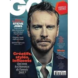 GQ n°94 décembre 2015  Michael Fassbender/ Hommes de l'année/ Steve Jobs/ Mathieu Pigasse