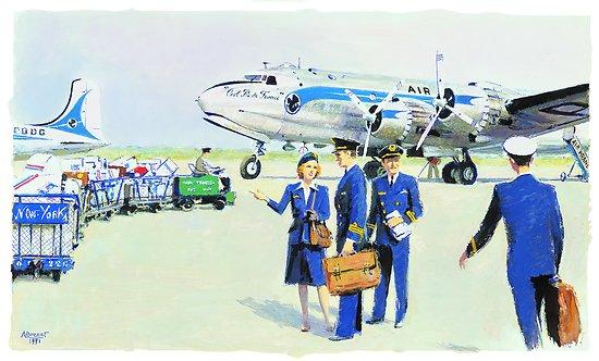 Gouache Douglas DC-4