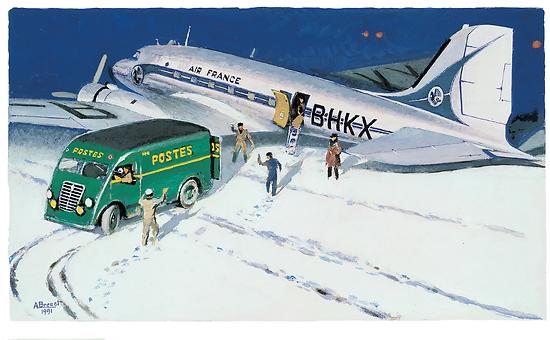 Gouache Douglas DC-3