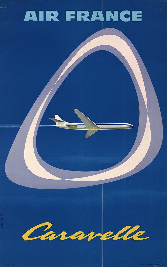 Affiche Air France Caravelle 63x100 A090