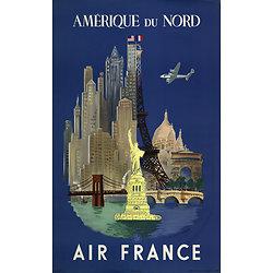 Affiche Air France Amérique du Nord 63x100 A280